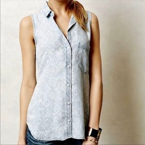 Anthro Cloth & Stone Ikat Chambrary Button Up Tank